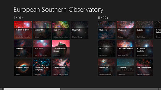 Screenshot from the European Southern Observatory Windows app showing overview of images