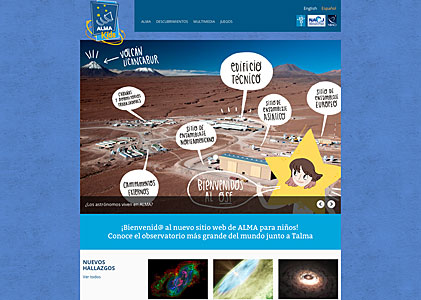 Screenshot of the ALMA Kids web site