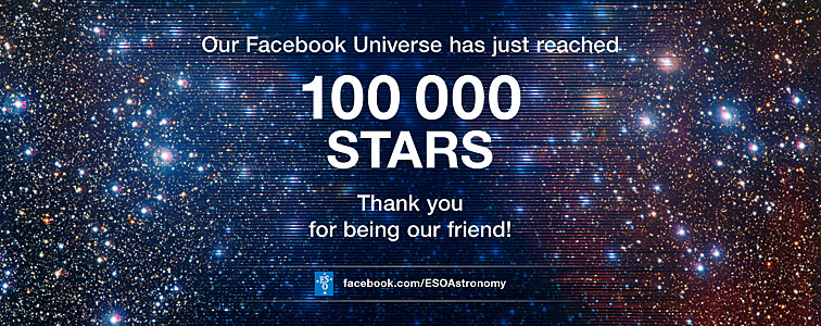 ESO's Facebook page welcomes its 100 000th friend