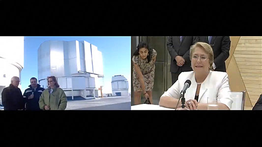 Screenshot of the Chilean President Michelle Bachelet video conference with Paranal Observatory from Expo Milano 2015