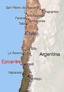 Map of Chile showing location of the earthquake of 16 September 2015