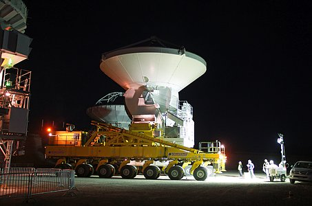 A European Antenna Moved to the ALMA OSF at night
