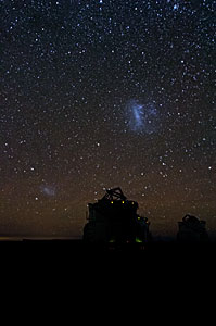 Magellanic Clouds over Paranal