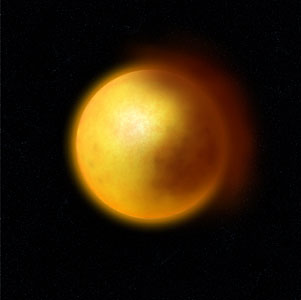 Dust Cloud in a R CrB Star (Artist's Impression)