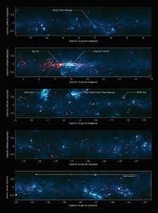 View of the Galactic Plane from the ATLASGAL survey (annotated and in five sections)