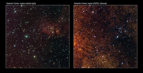 Visible/infrared comparison of the VISTA Galactic Centre image