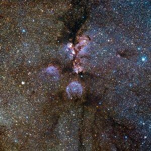 Imagem infravermelha VISTA da Nebulosa da Pata de Gato