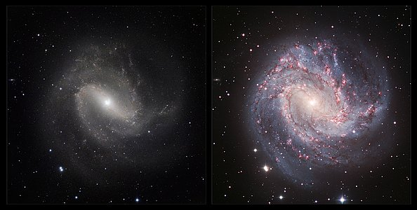 An infrared/visible comparison view of Messier 83