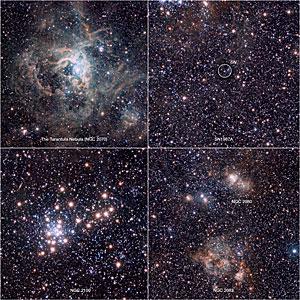 Extracts from the VISTA Magellanic Cloud Survey view of the Tarantula Nebula