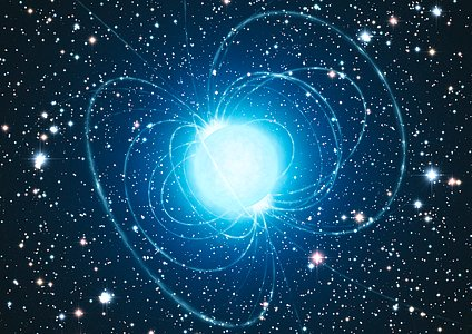 Artist's impression of the magnetar in the extraordinary star cluster Westerlund 1