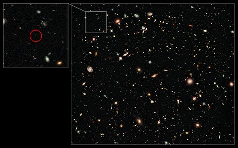 Hubble image of the distance-record galaxy UDFy-38135539