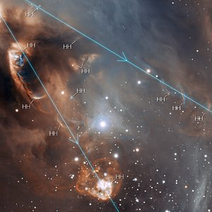 Close-up of the drama of star formation (annotated)