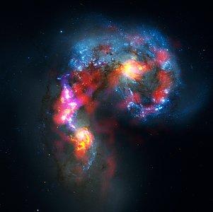 Komposit der Antennengalaxien aus ALMA- und Hubble-Daten