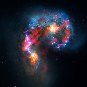 Imagem das galáxias Antena, composta a partir de observações ALMA e Hubble