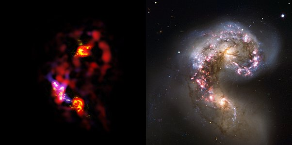 Antennae Galaxies, side-by-side comparison of ALMA and VLT observations