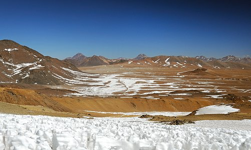 ALMA antennas on the Chajnantor Plateau, seen from nearby Cerro Toco