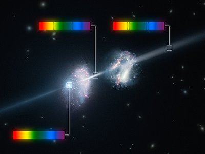 Artist's impression of a gamma-ray burst shining through two young galaxies in the early Universe