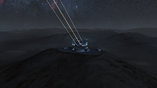 The E-ELT laser guide stars at work (artist's impression)