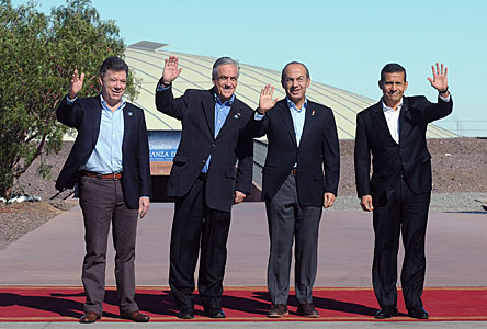 The Presidents of the four countries in the Pacific Alliance