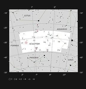 The red giant star R Sculptoris in the constellation of Sculptor (The Sculptor)