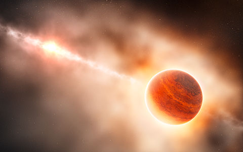 Artist's impression of a gas giant planet forming in the disc around the young star HD 100546