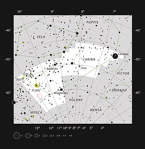 The star HD 95086 in the constellation of Carina