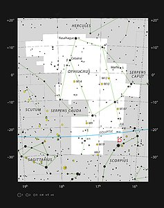 The location of the system Oph-IRS 48 in the constellation of Ophiuchus