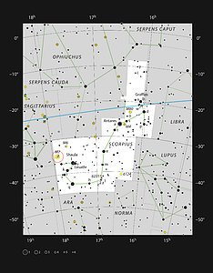 The bright star cluster Messier 7 in the constellation of Scorpius