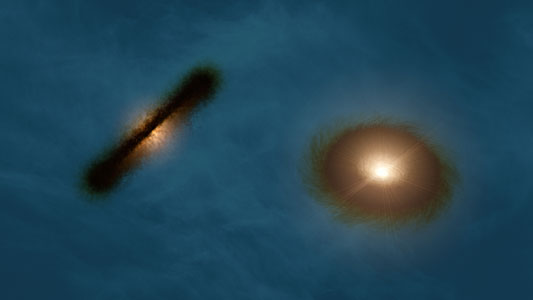 Artist's impression of the discs around the young stars HK Tauri A and B