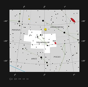 Messier 33 in the northern constellation of Triangulum