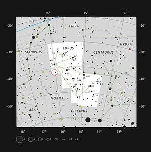 The location of the Lupus 4 dark cloud in the constellation of Lupus