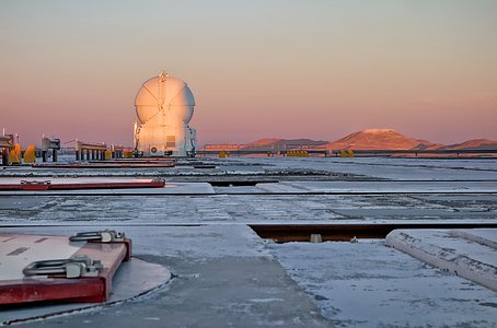Work on Cerro Armazones seen from Paranal