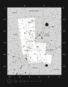 The bright star clusters Messier 47 and Messier 46 in the constellation of Puppis