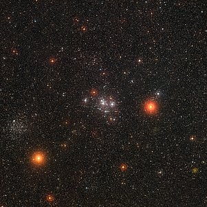 Wide-field view of the bright star clusters Messier 47 and Messier 46