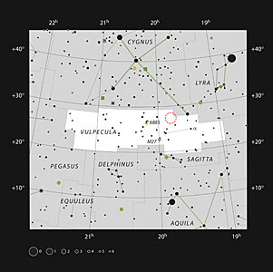 The position of Nova Vul 1670 in the constellation of Vulpecula