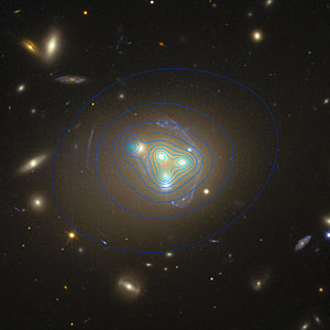 Hubble image of galaxy cluster Abell 3827 showing dark matter distribution