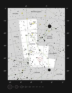 The star L2 Puppis in the constellation of Puppis
