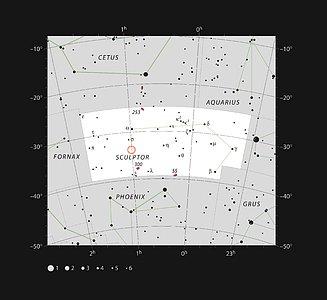 Location of the Sculptor Dwarf Galaxy