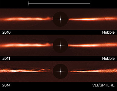 VLT and Hubble images of the disc around AU Microscopii
