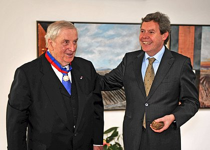 Hans-Emil Schuster Receiving the Order of Bernardo O'Higgins
