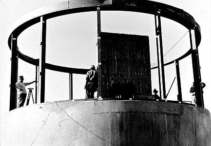 Construction of the Grand Prisme Objectif telescope building at La Silla