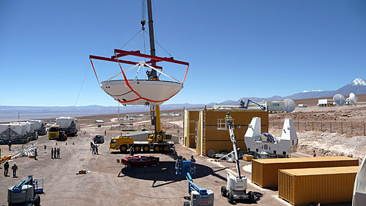 Assembly of First European ALMA Antenna