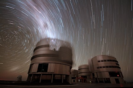 Startrails over Cerro Paranal in 1987
