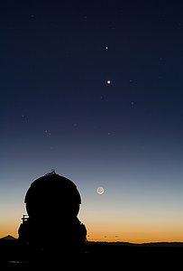Celestial Tic-Tac-Toe: Mercury, Venus and the Moon Align