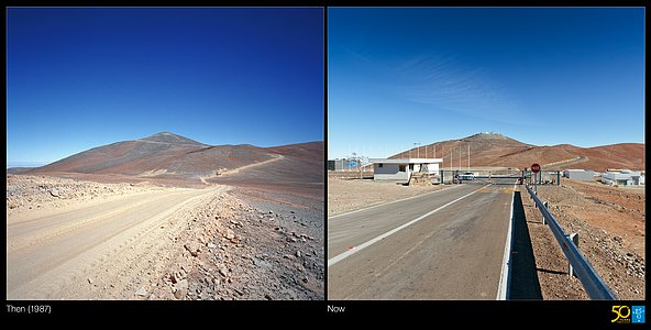 From a Dirt Track to the World's Leading Observatory (side-by-side composite)