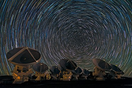Whirling Southern Star Trails over ALMA