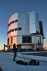 "VLT Laser Guide Star poses for ""Traveller"" Magazine"