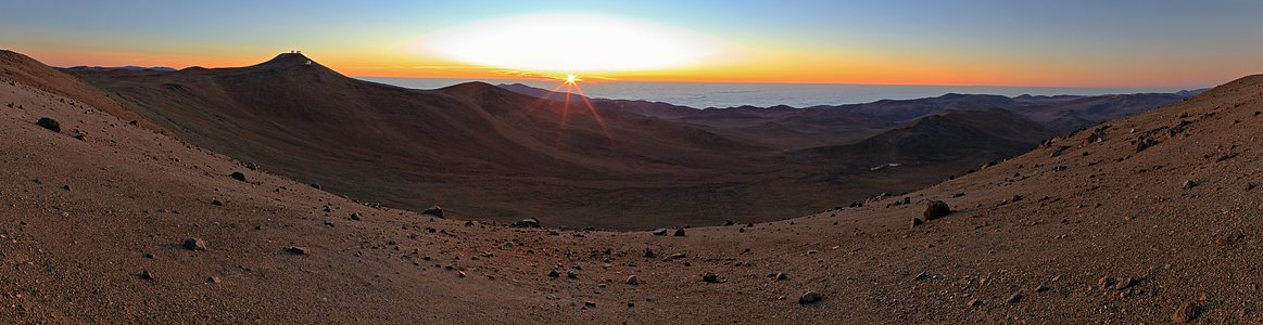 Panoramic view of sunset over Paranal