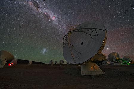 Antenna under galaxies