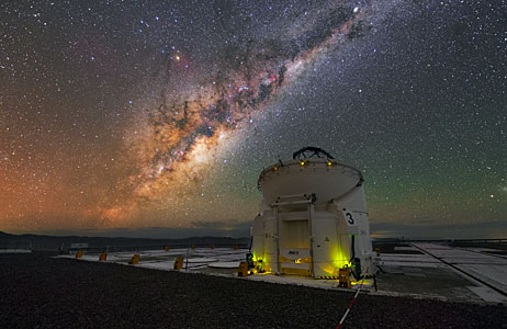 Auxiliary Telescope Under the Milky Way in UHD